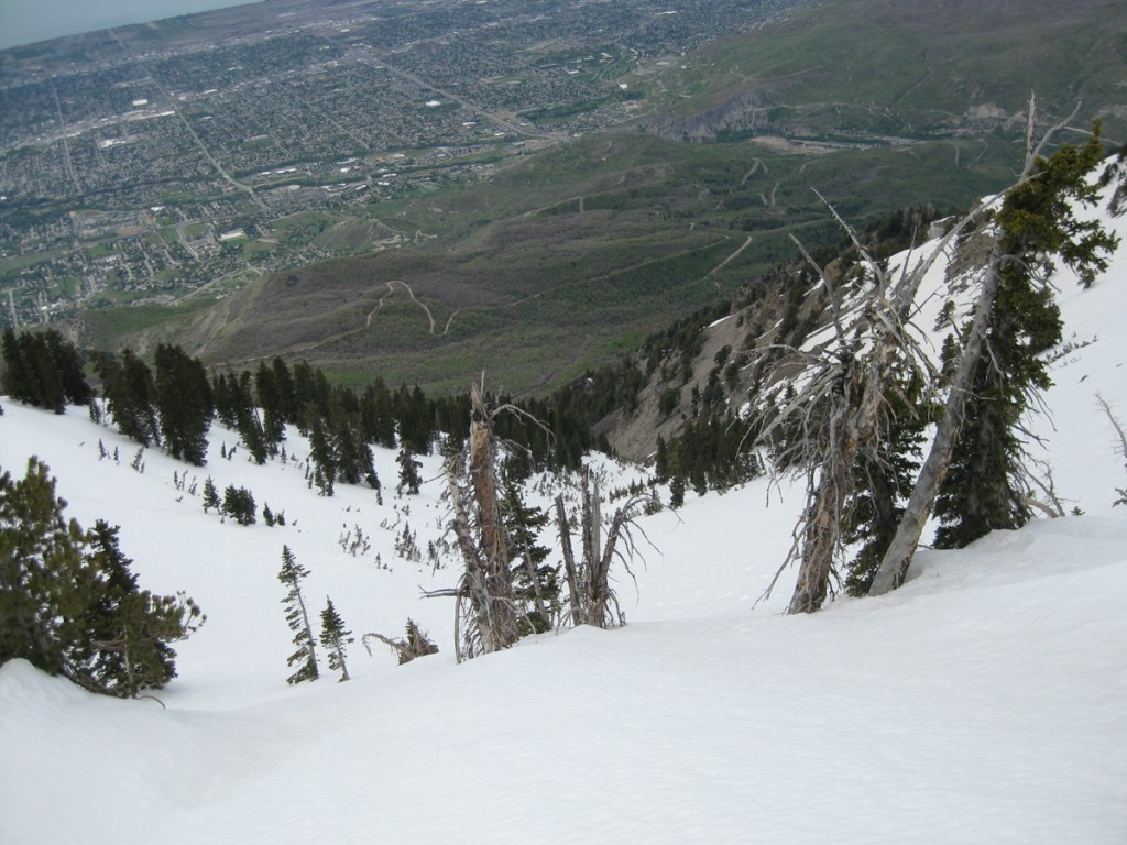 Looking down my descent/glissade route.