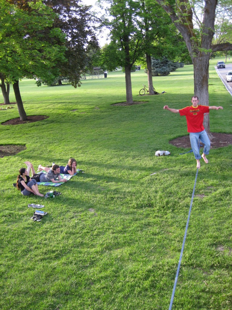 Friends and slacklines.