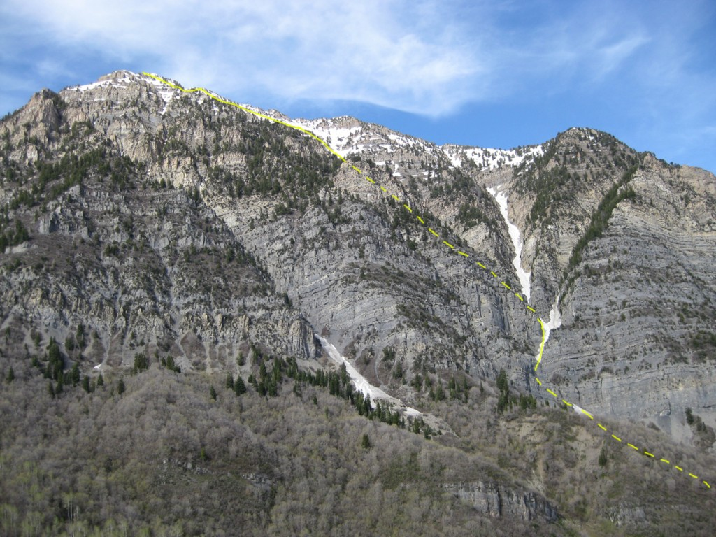 "The ascent route. The middle and right toes of the ""Crow's Foot"" are the snow-filled gullies to the right."