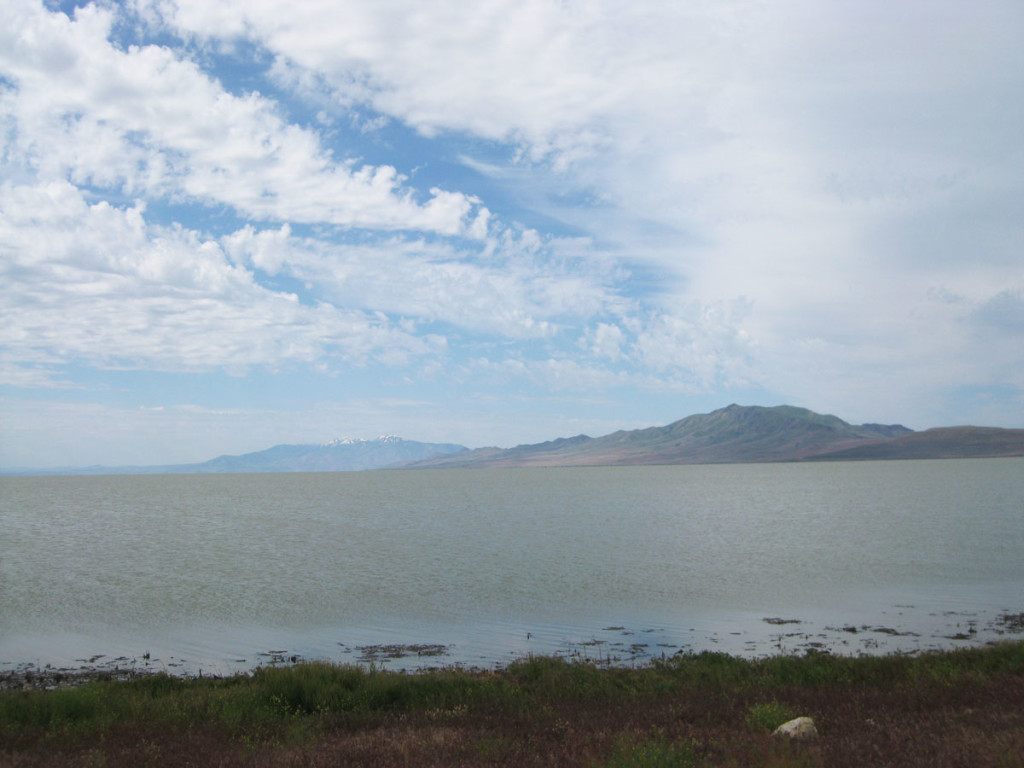Antelope Island. The mountain that takes up most of the island is Frary Peak.