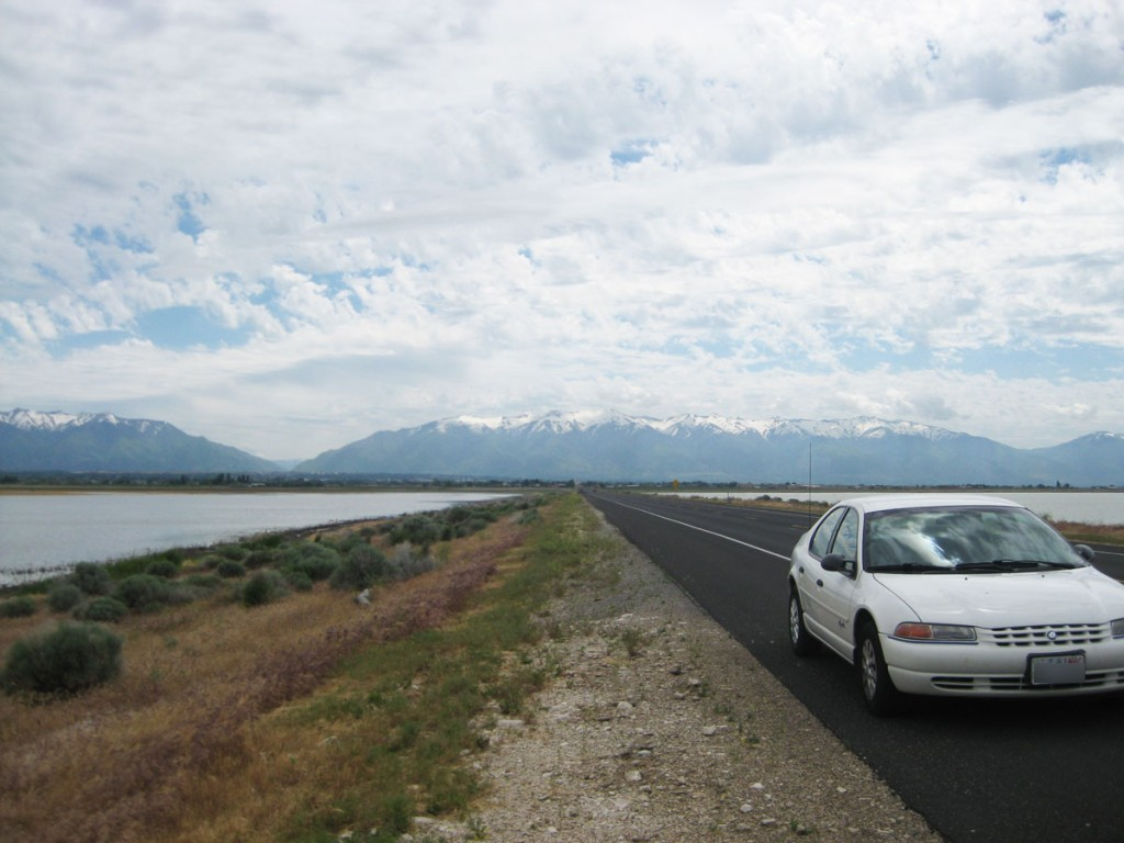 The causeway that leads out to the island. The Wasatch Mountains are in the background.