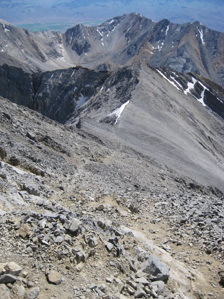 Looking down the ascent route from near the top