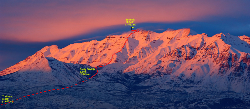A photo of Timpanogos with the Everest Ridge route marked.