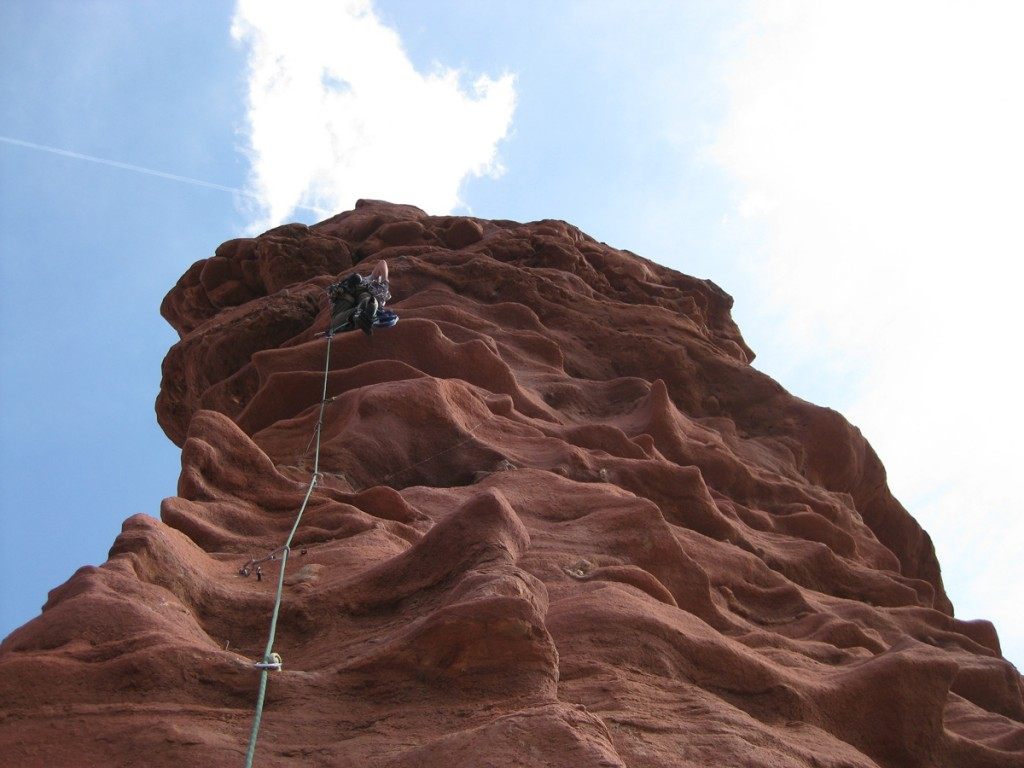 Me on the final pitch, pitch 6. Reachy bolt ladder to exposed free moves. Cool!