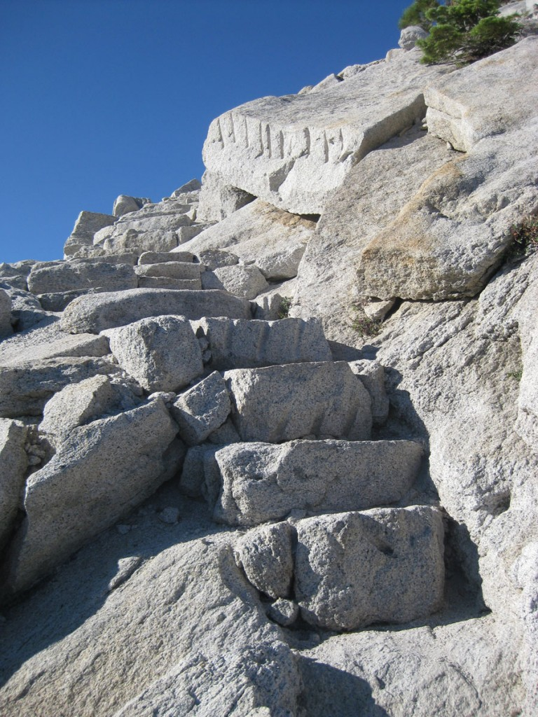 Some steps in the shoulder of Half Dome.