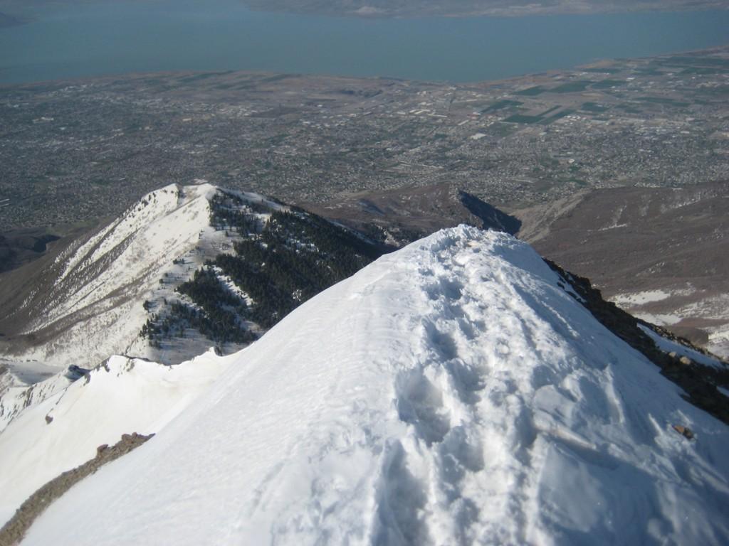 The ridge, the suburbs, and Utah Lake.