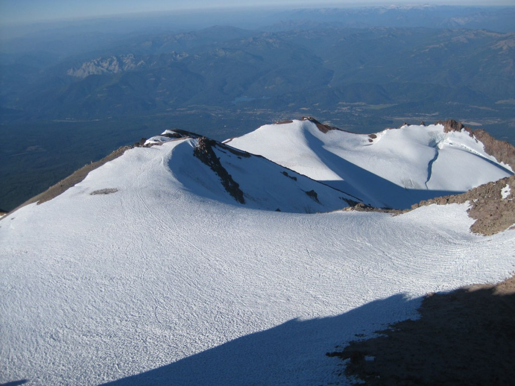 Looking down from the summit onto one of the mountain's glaciers.