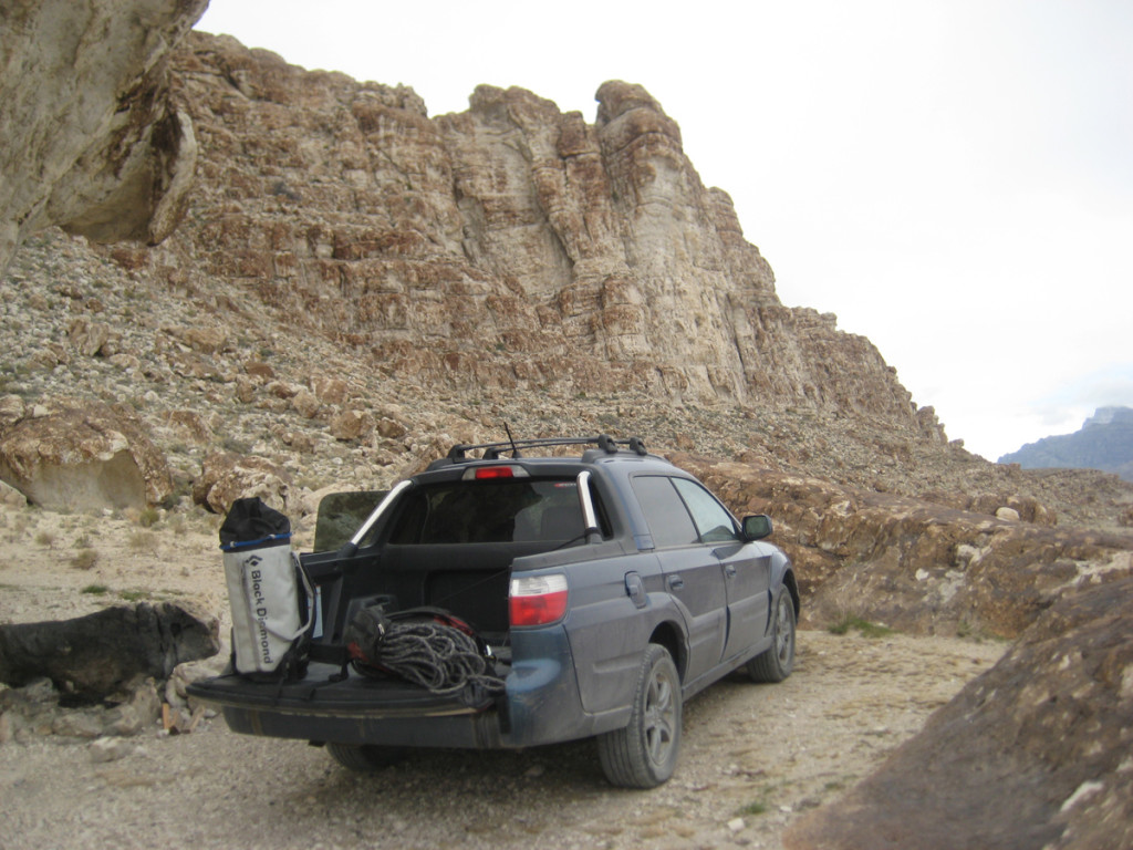The crag and the car.