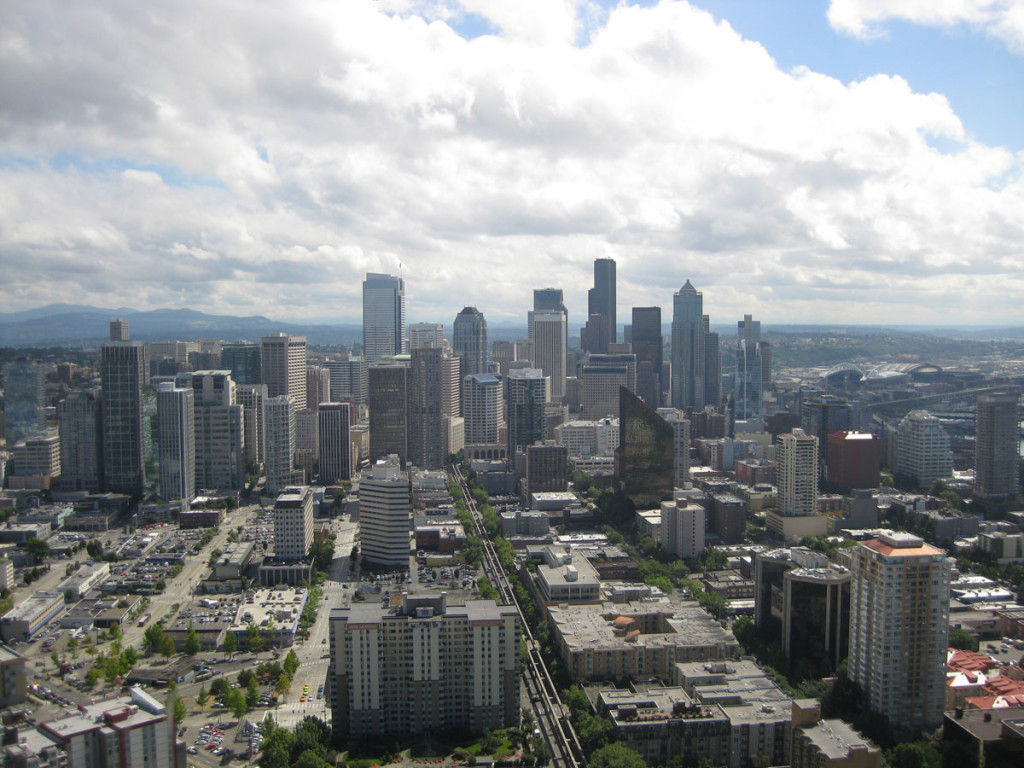 Downtown Seattle from the Space Needle's restaurant.