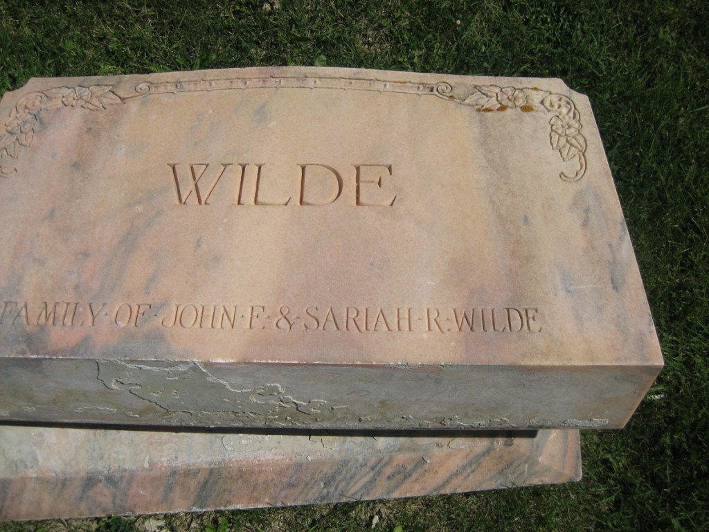 The toppled-over headstone of John and Sariah Wilde (my great great grandparents)