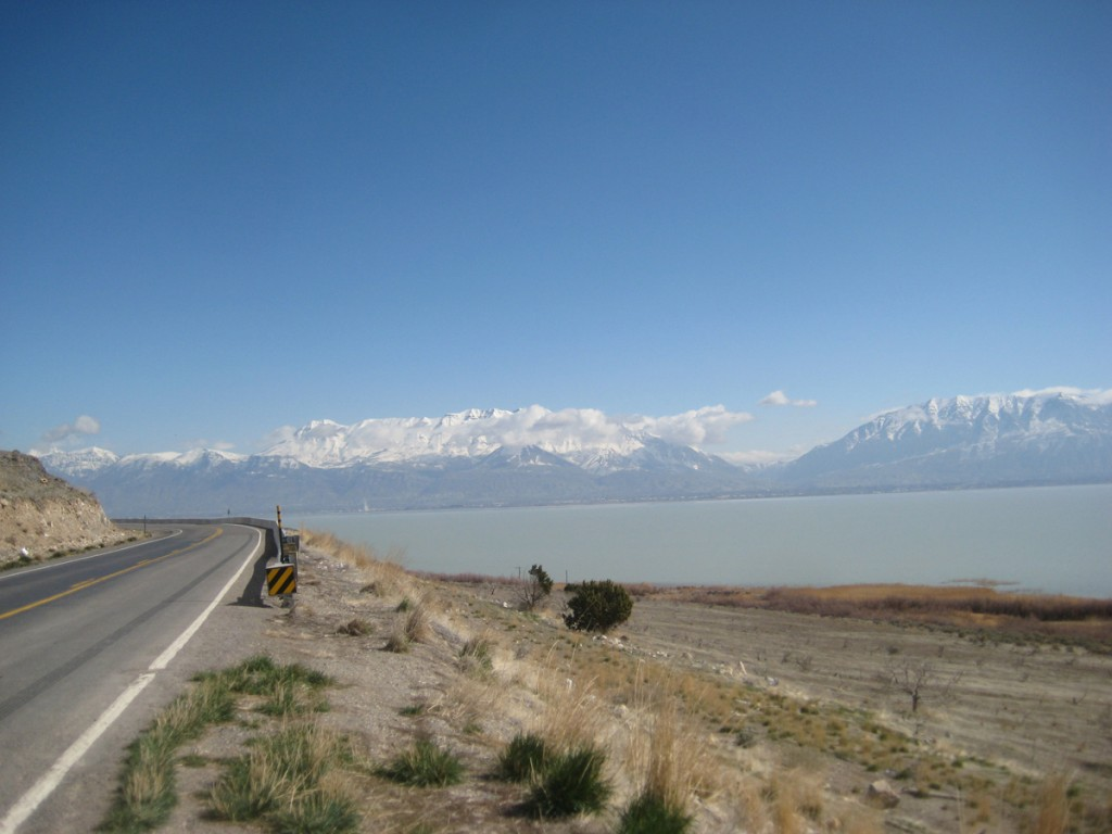 The lake from about 40 miles in. Mt. Timpanogos is on the left, Cascade Peak is on the right.