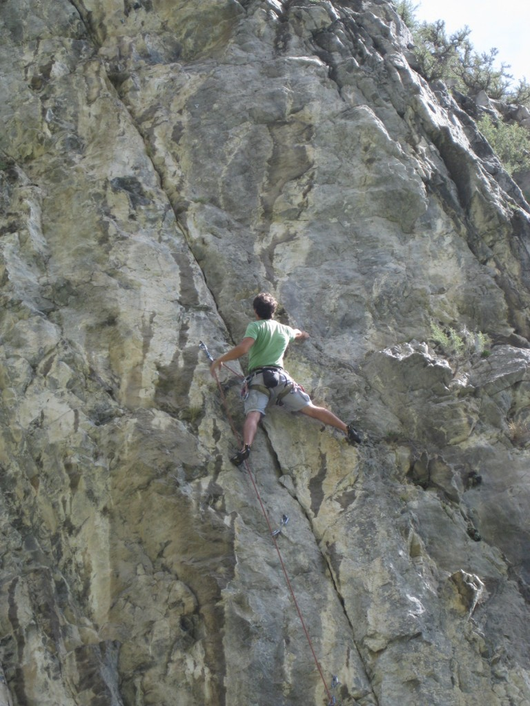 "Me climbing ""Forsaken"" (5.11b) in Rock Canyon"