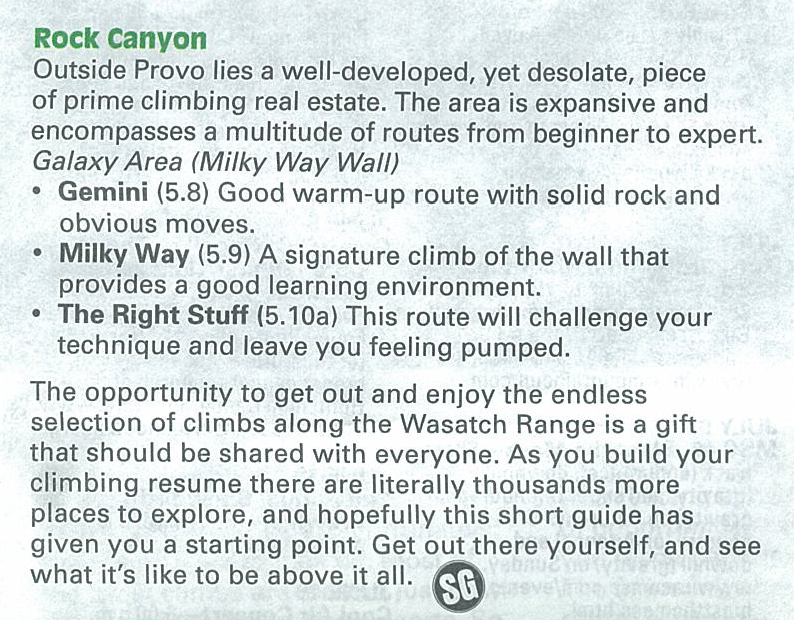 Click for a larger version of my featured Rock Canyon climbs.