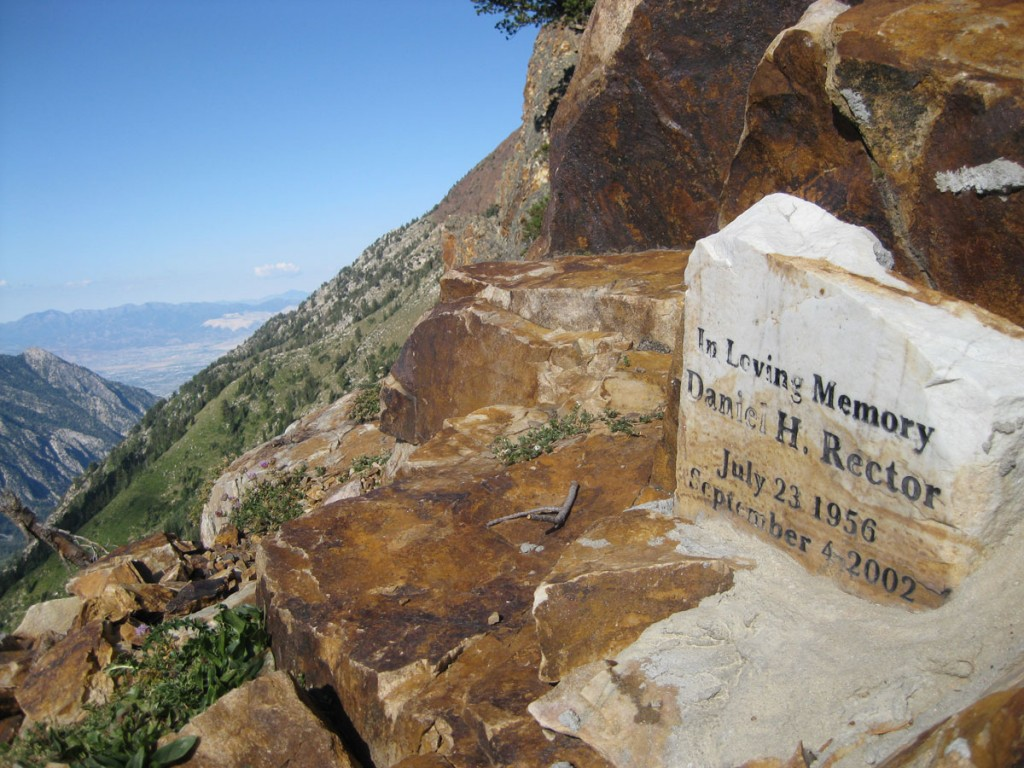 A small memorial to a climber who died on the route.