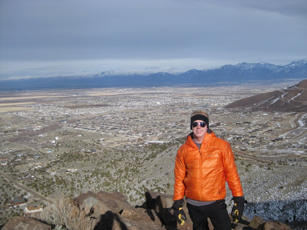 Eric on top, with the Salt Lake Valley behind him.