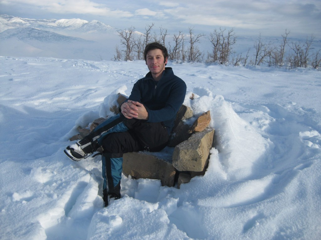 Me sitting in the stone chair on top of Chair Hill (hence the name).