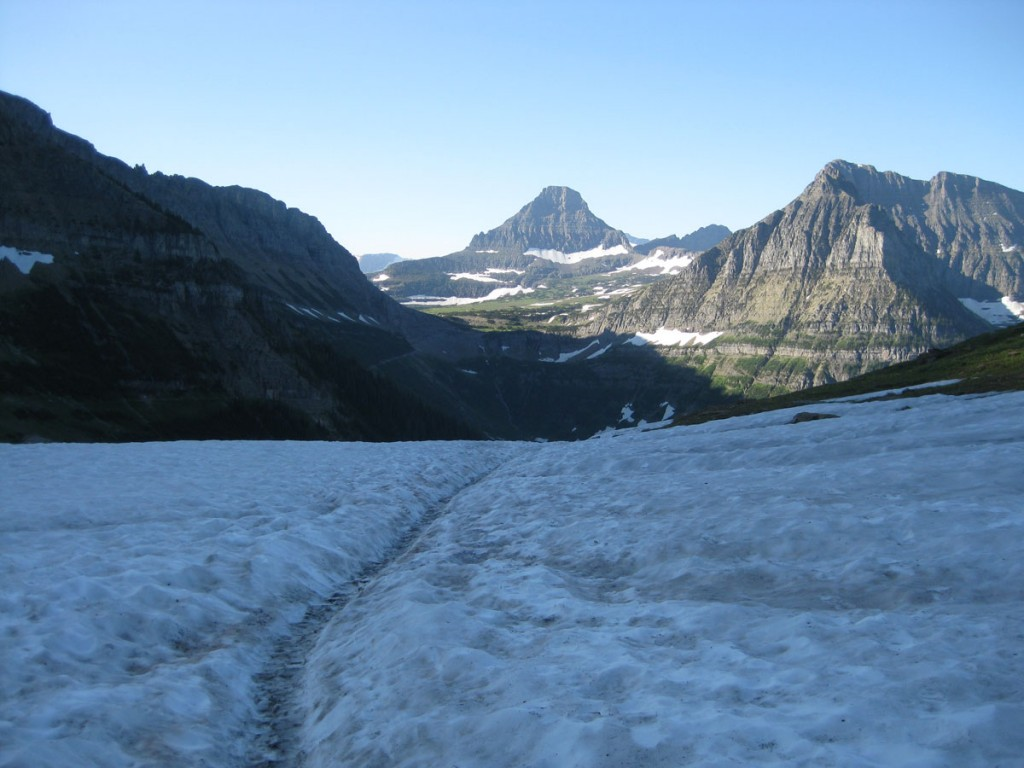 At the pass between Haystack Butte and whatever the big mountain to the east is called. Looking back to Logan Pass.