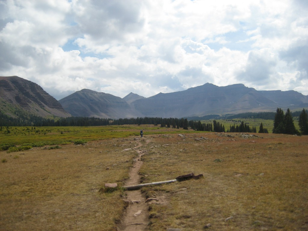 On the hike out. Kings Peak is the pointy one left of center and directly above the trail; Dome Peak is left of Kings.