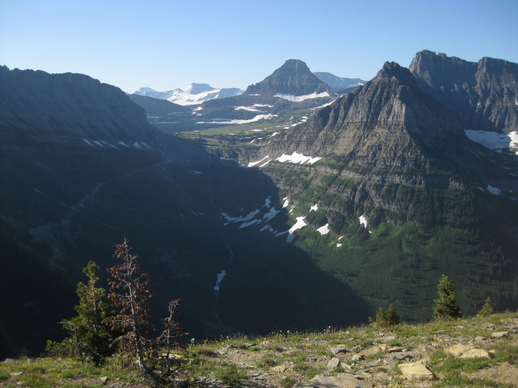View from near the top of Haystack Butte. Looking toward Logan Pass.