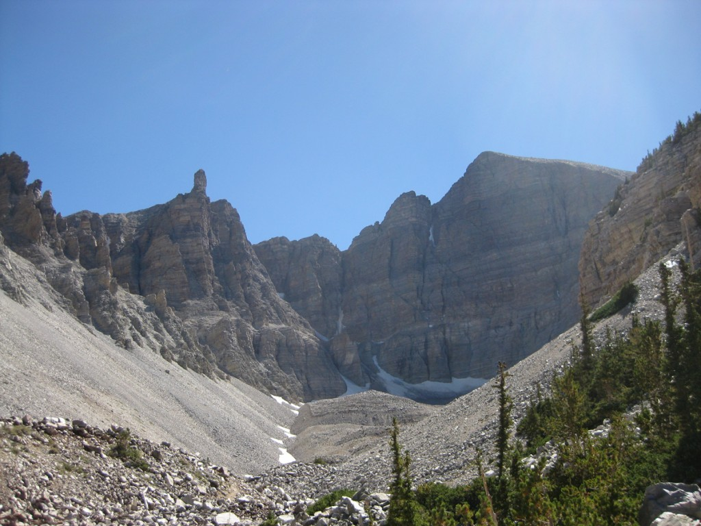 "The ""glacier"" and Wheeler Peak's massive northeast face."