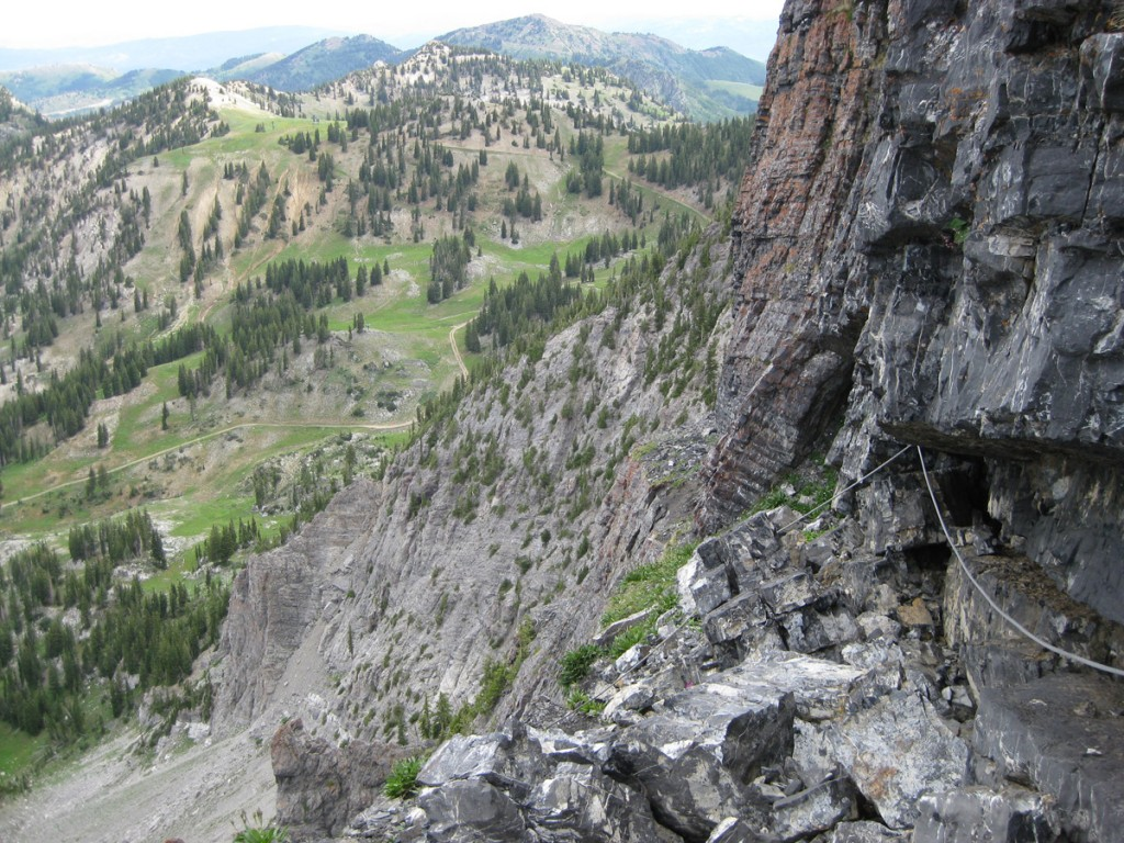 Looking back across the big ledge at the top of pitch 5.