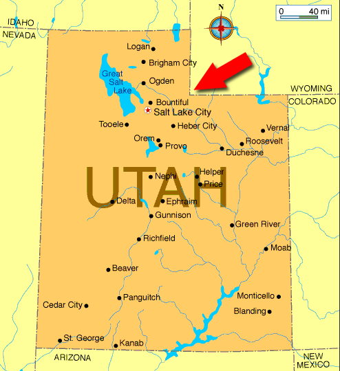 Map of Utah, showing the corner of Wyoming that we went to.