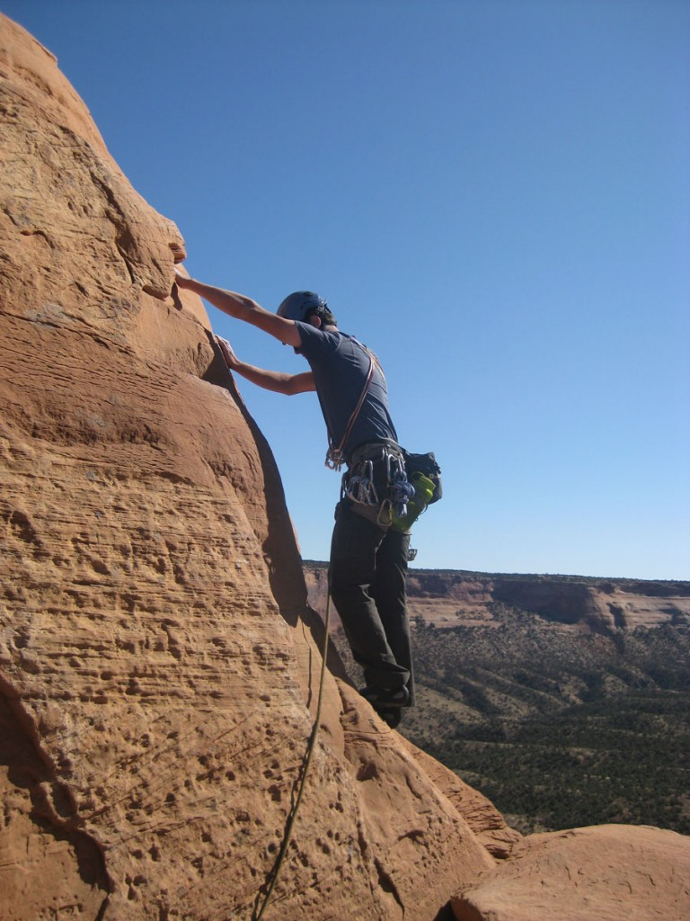 Me starting out on the unprotected bottom part of pitch 5.