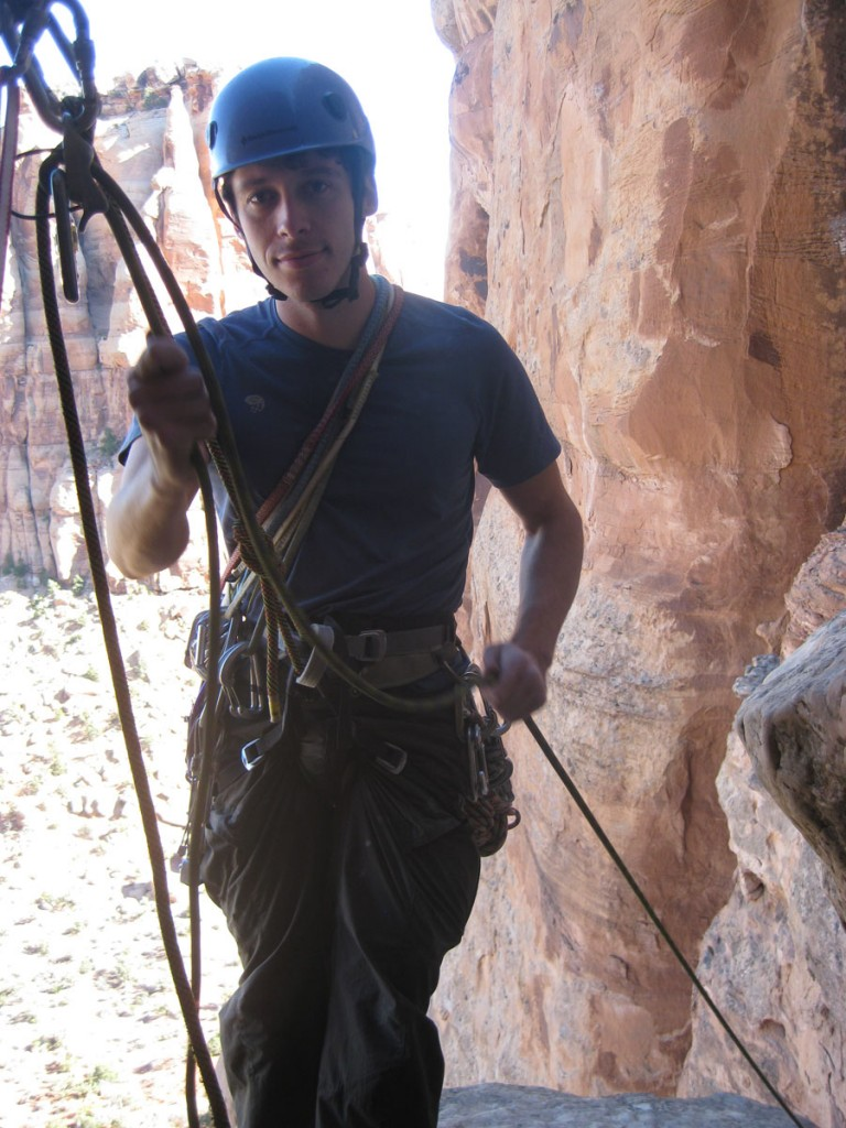 Me belaying at the top of pitch 2.