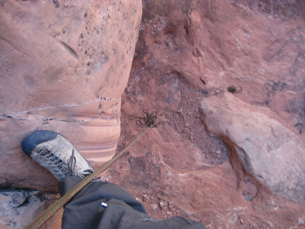Looking down the final rappel.