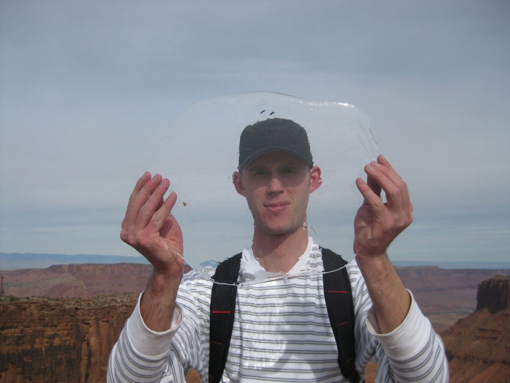 Russ holding some ice found on one of the potholes on top of the mesa.