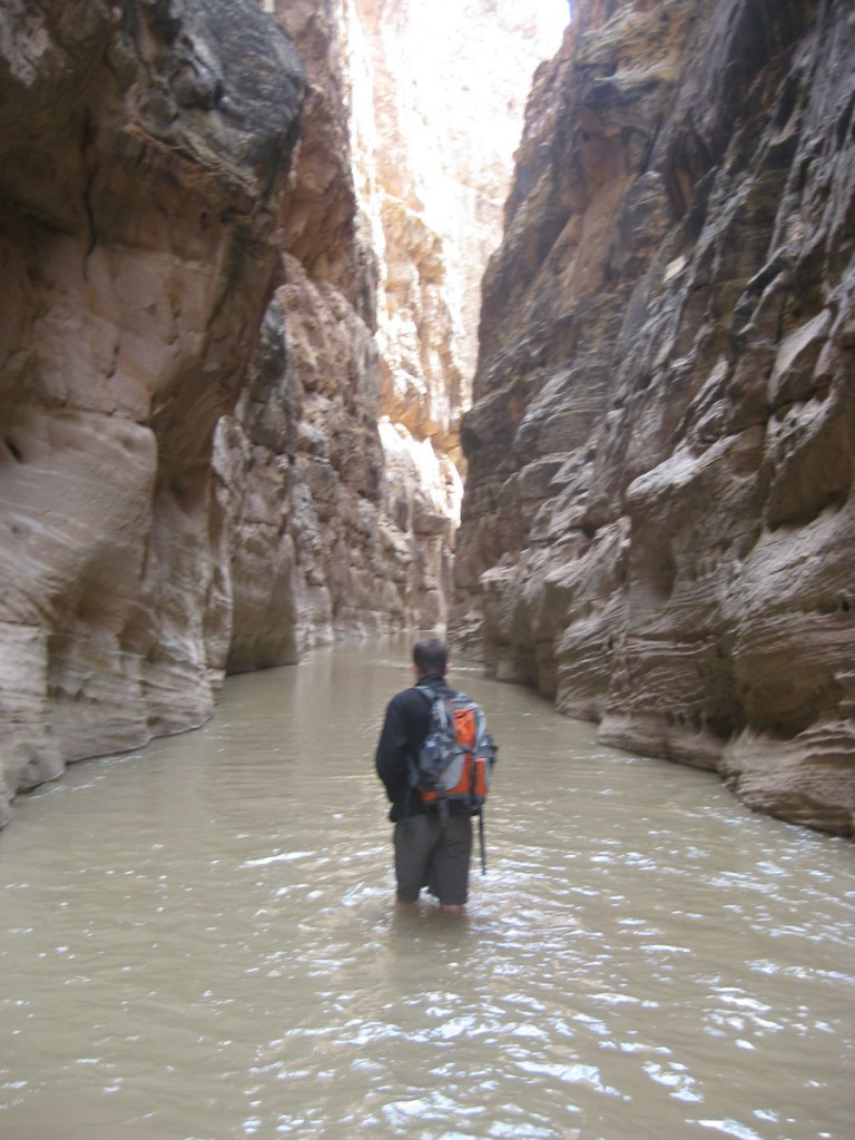 Hiking in a narrow section.