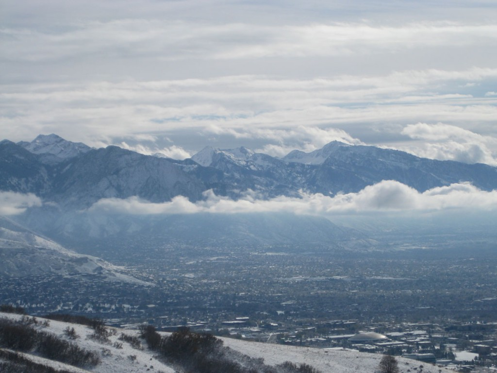 Looking south to Mt. Olympus and the high peaks of the central Wasatch.