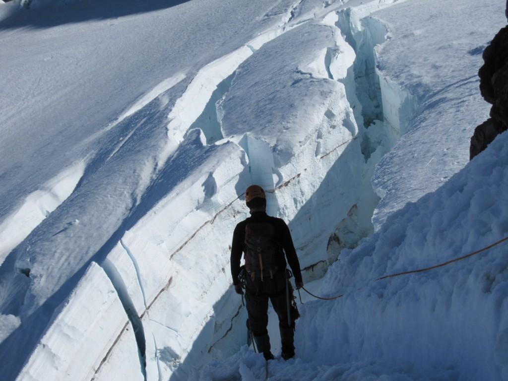 Matt in front of a crevasse.