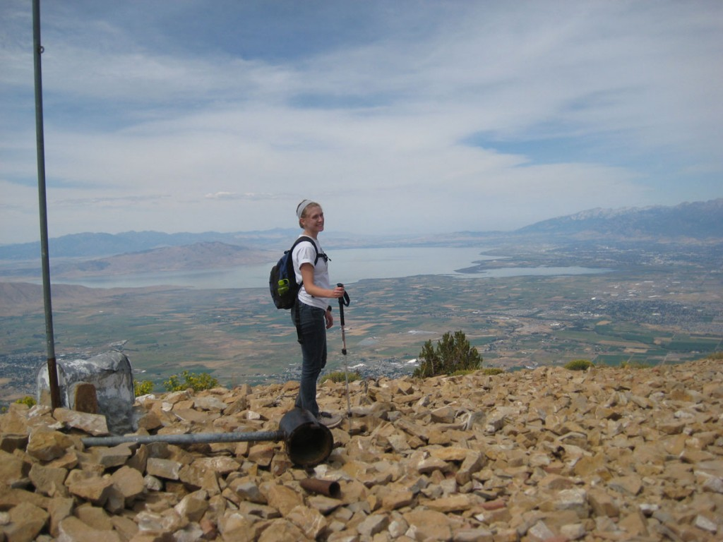 Clara on top with Utah Lake in the background.
