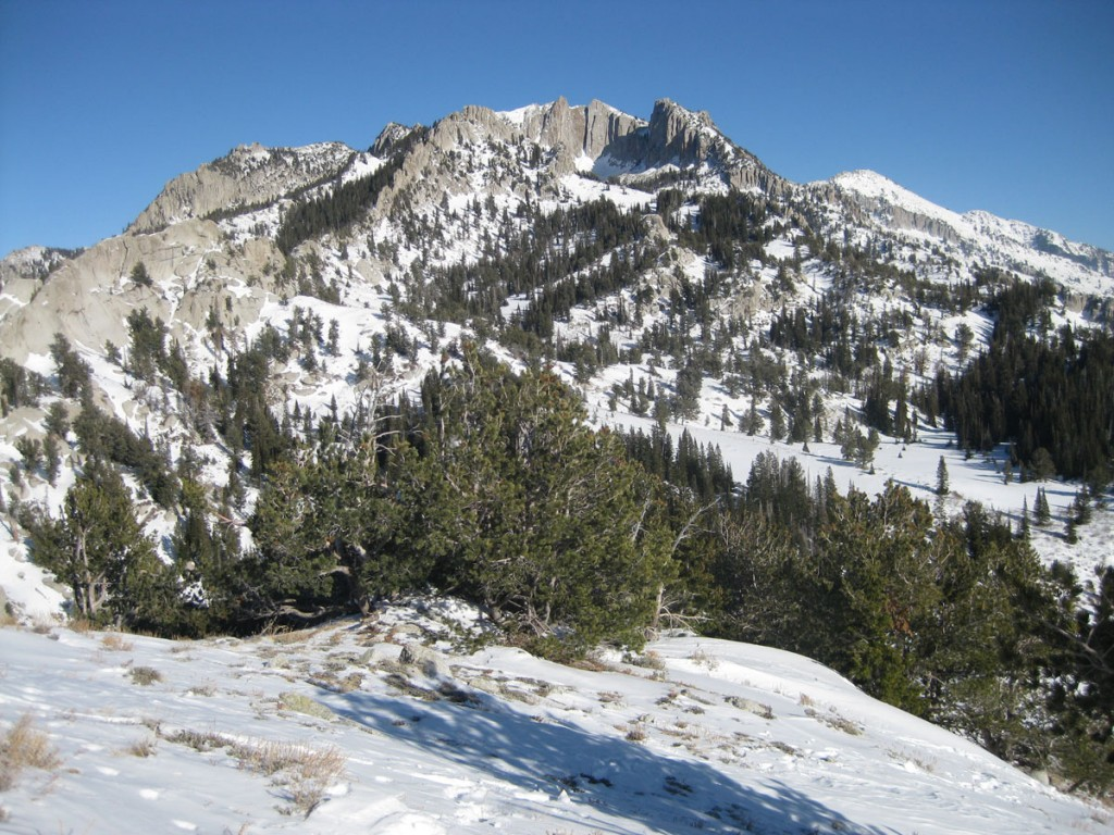My first view of the summit and the famous (to rock climbers) cliffs of Lone Peak Cirque.