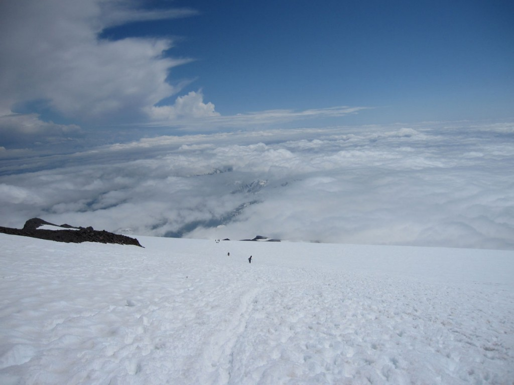 Looking down onto the sea of clouds.