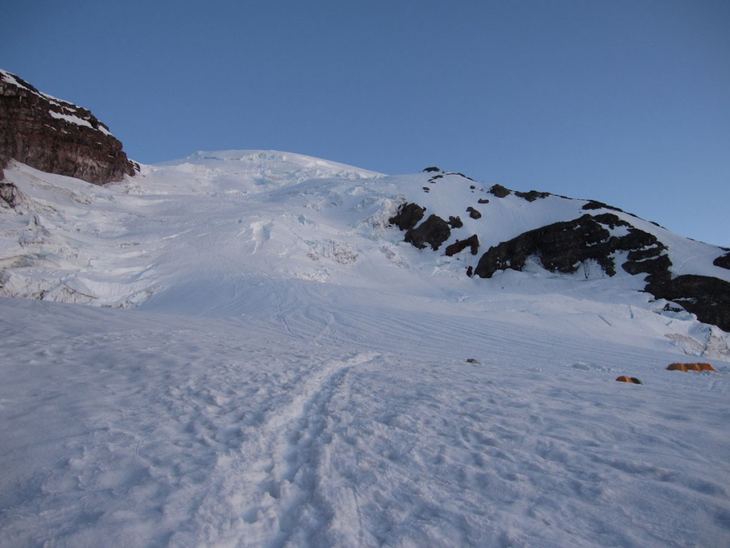 Looking up at the Ingraham Glacier and Disappointment Cleaver.