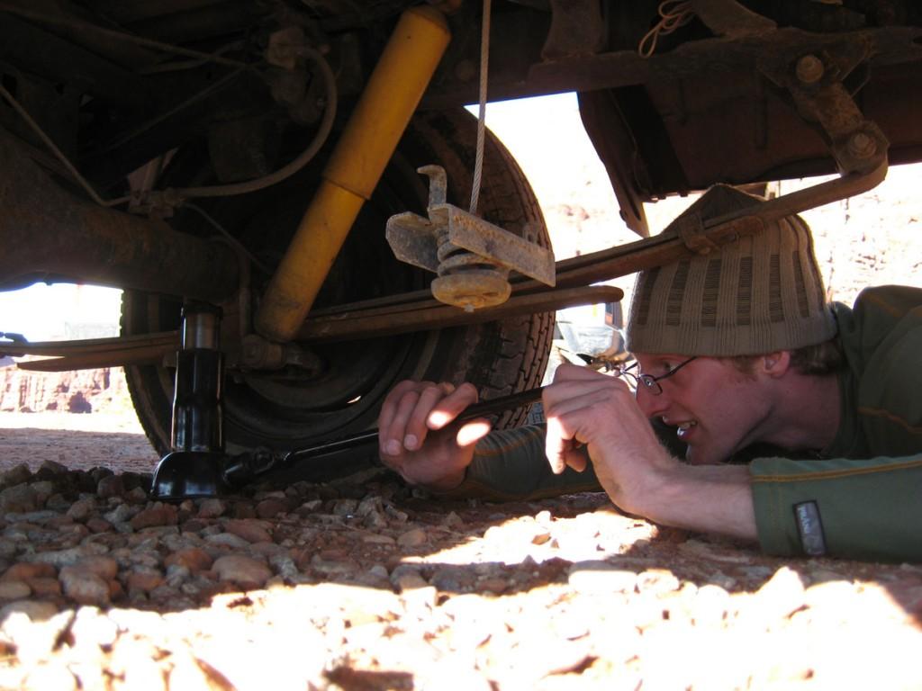 Jonny fixing his flat tire like a boss.