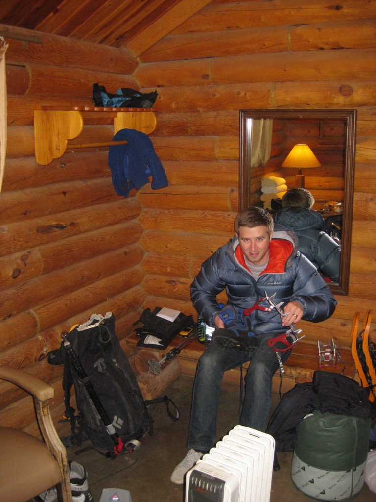 Jeff getting his gear ready at the hostel the night before.