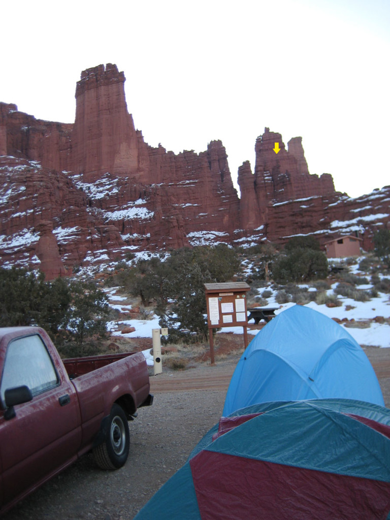 The Fisher Towers in January. Ancient Art is marked with a yellow arrow.