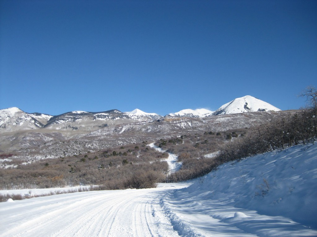 The La Sal mountains from the approach road.