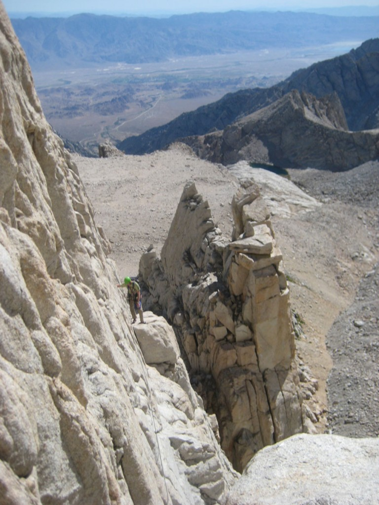 """Looking back across the first pitch, the """"Fresh Air Traverse"""""""