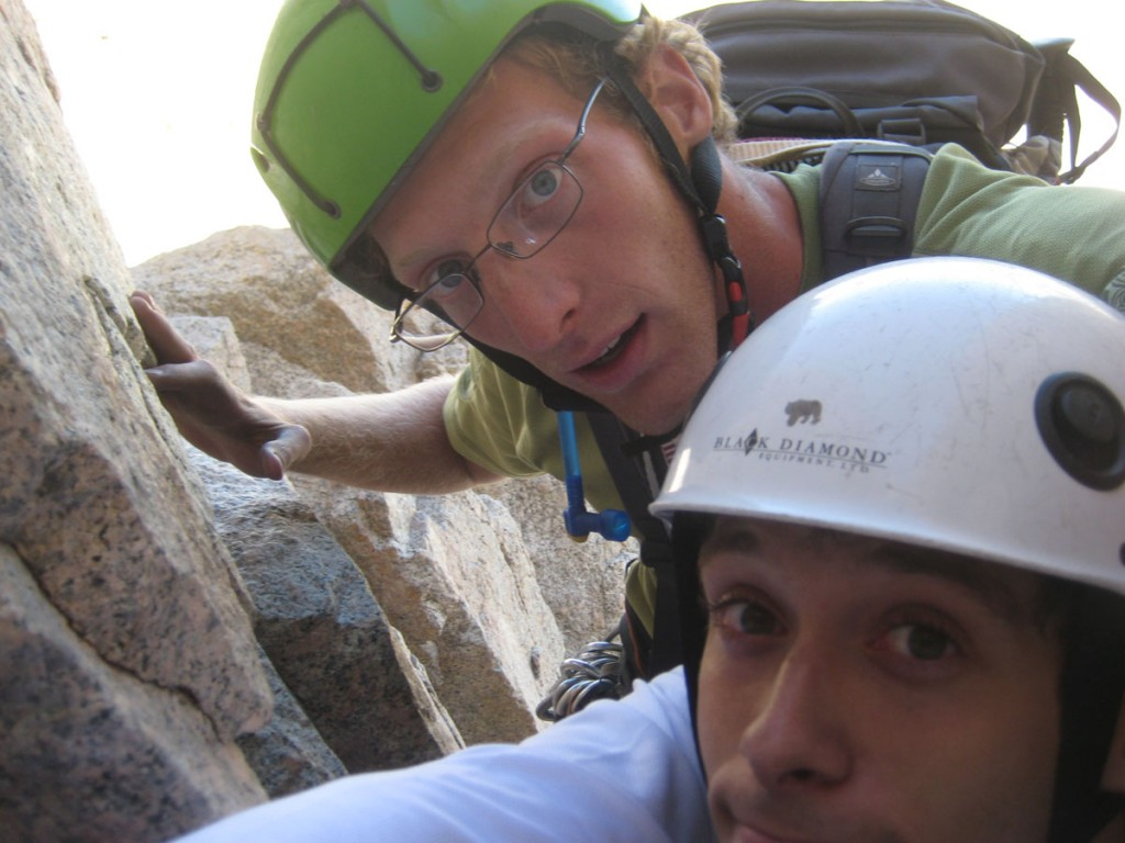 A very cramped belay in a chimney high on the route.