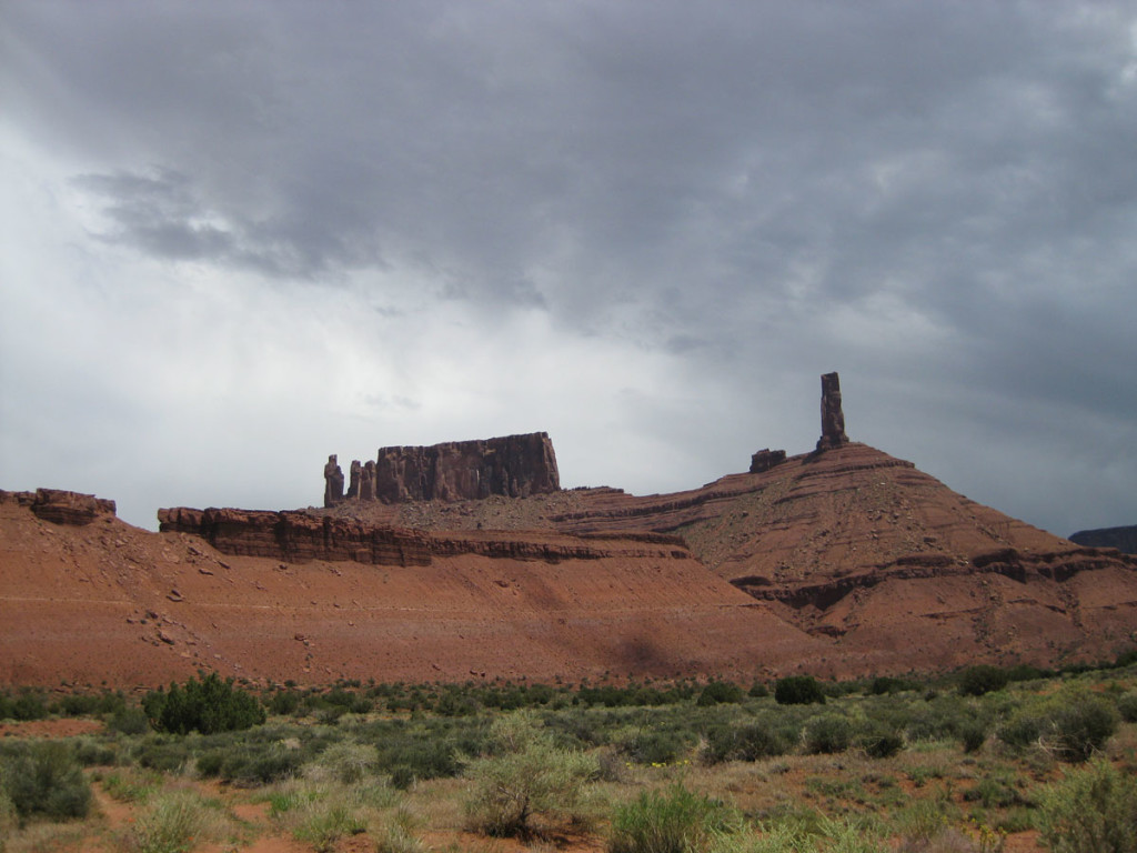 The Priest is the detached tower on the left side of the photo, just left of the mesa. Castleton Tower (which I climbed in 2005) is the freestanding tower on the right.