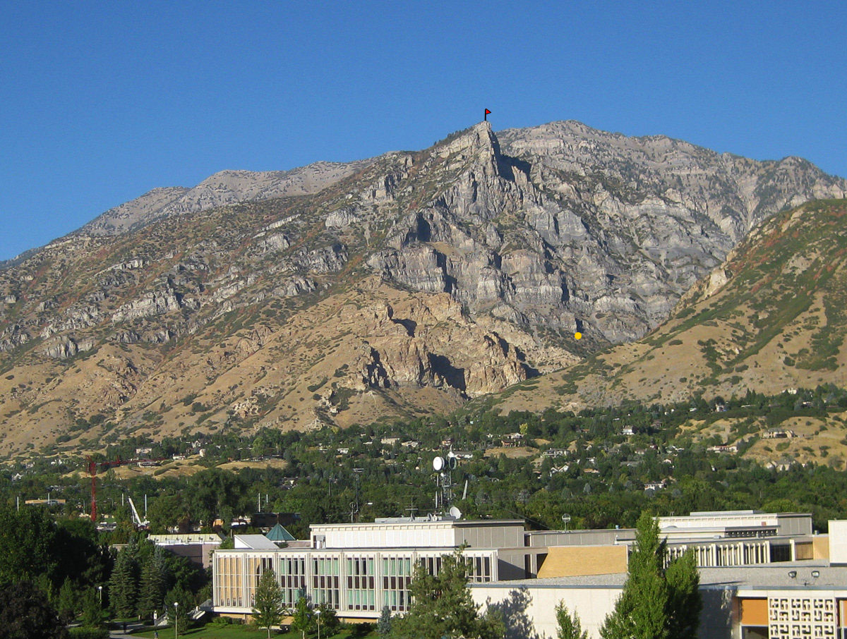 Squaw Peak from Provo. Orange dot marks the start of the route. Red flag marks the end of the route.