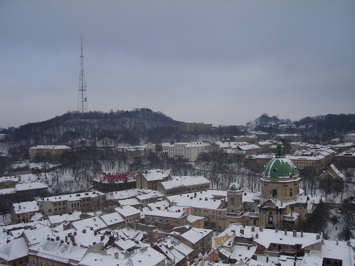 The city in winter, from the tallest bell tower.