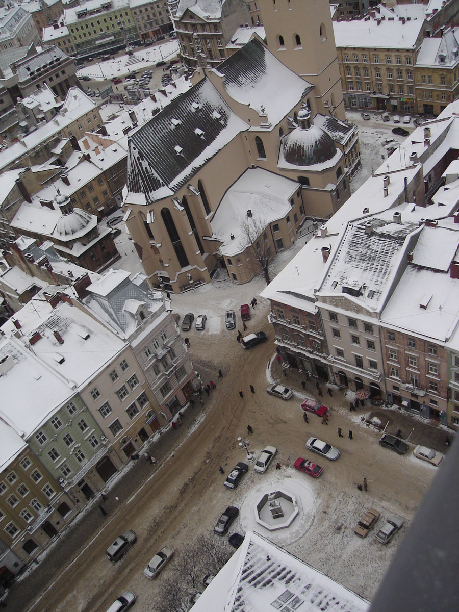 Looking down on a square.