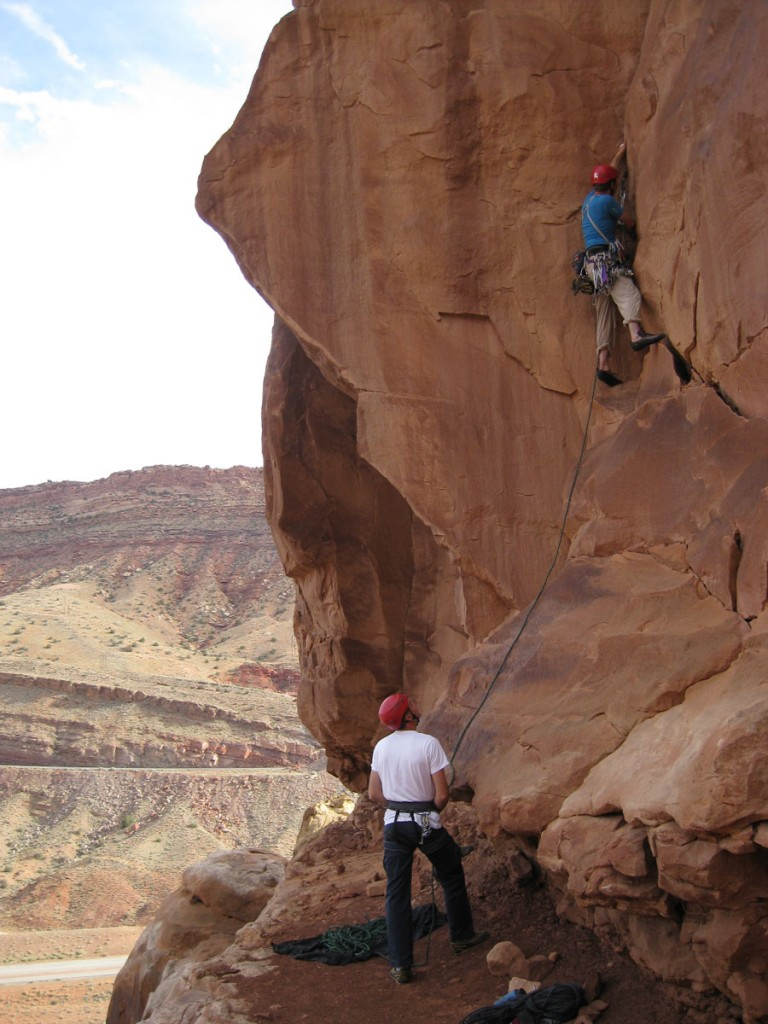 Lee belaying Perin on the first pitch.