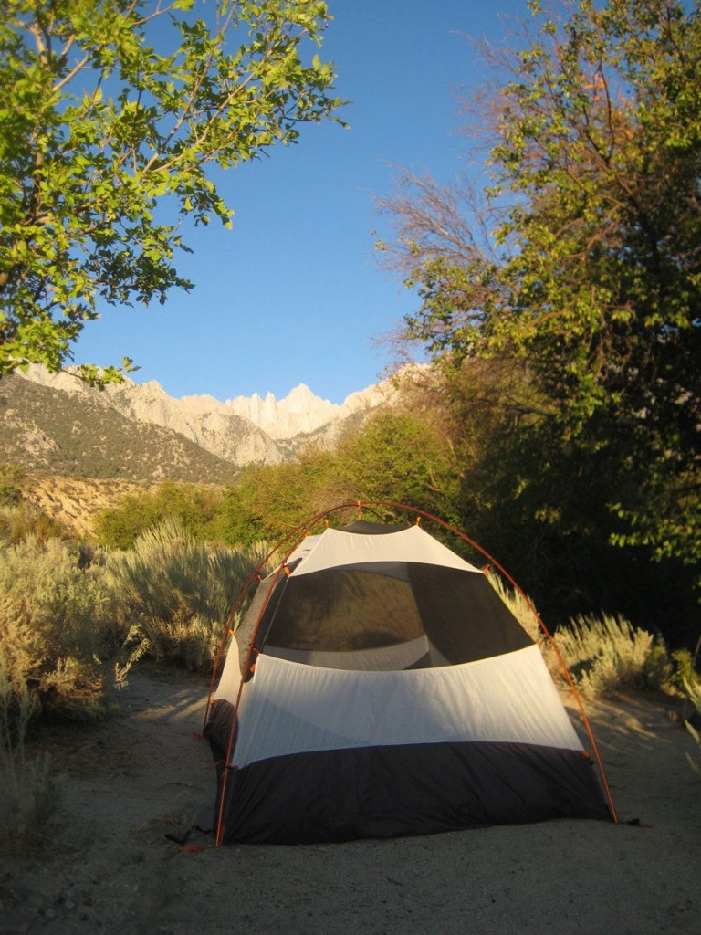 My tent at our campsite. Mt. Whitney is directly above the tent.
