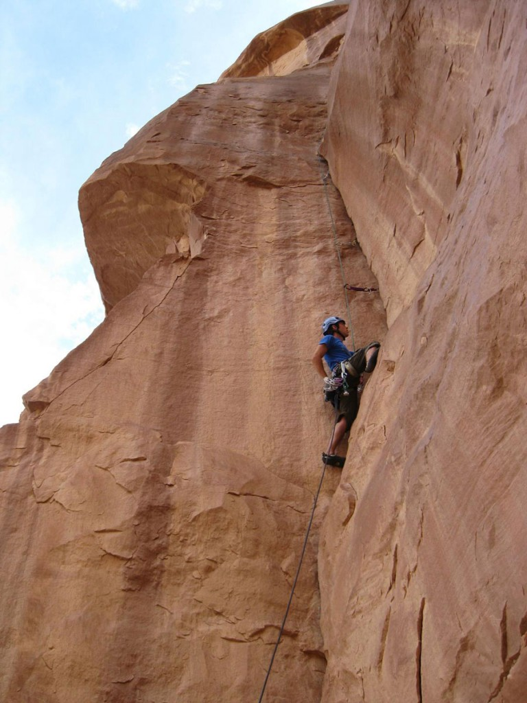 Me climbing the first pitch.